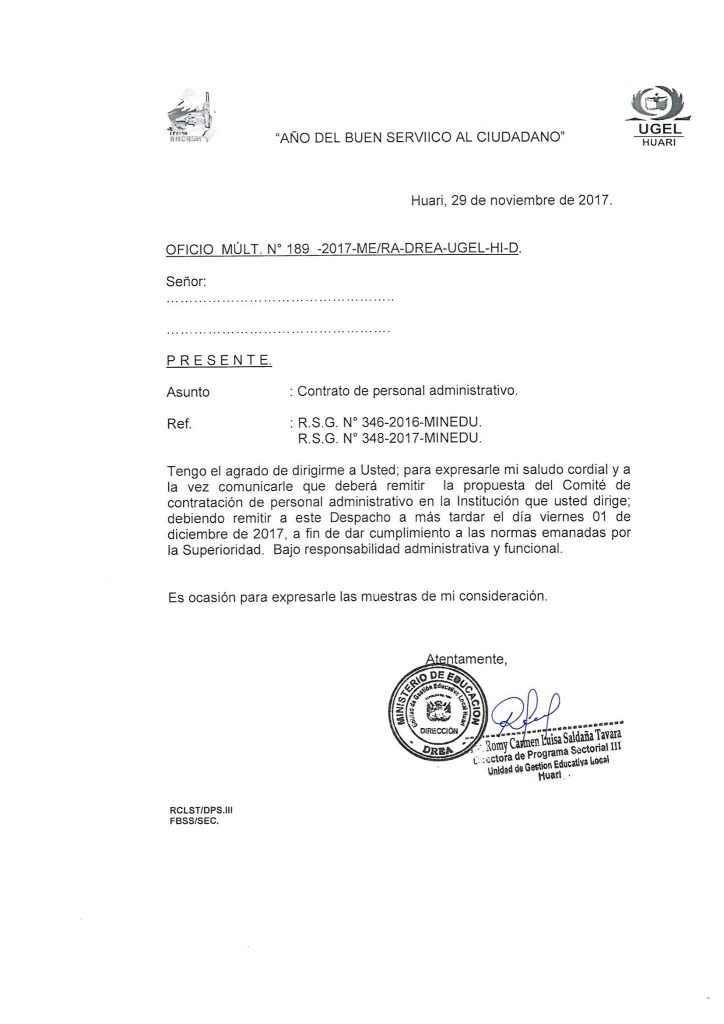 Contrataci N De Personal Administrativo 2018 Ugel Huari